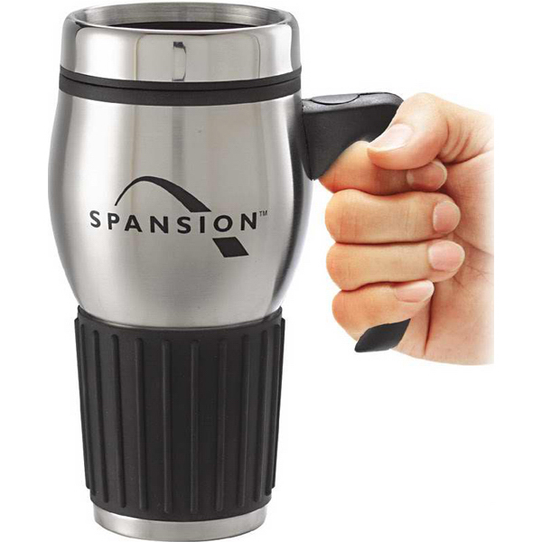 Promotional 16 oz. Stainless Mug with Rubber Grip