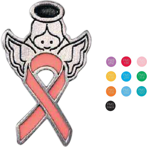 "Personalized 1 1/8"" Awareness Ribbon Lapel pin"