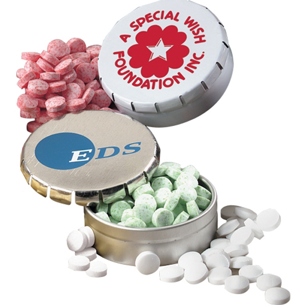 Imprinted Mints in Pop Top Round Mint Tin