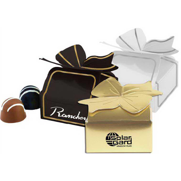 Printed Special Box or ballotin box with 4 chocolate truffles