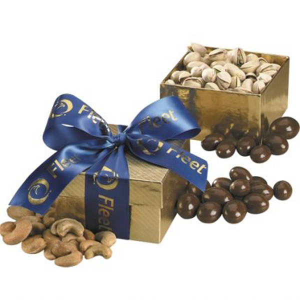 Promotional Gold Gift Box with Tootsie Rolls
