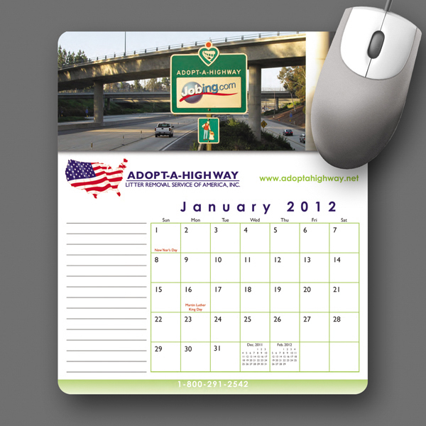 Imprinted MousePaper® Calendar 24 Month Paper Mouse Pad