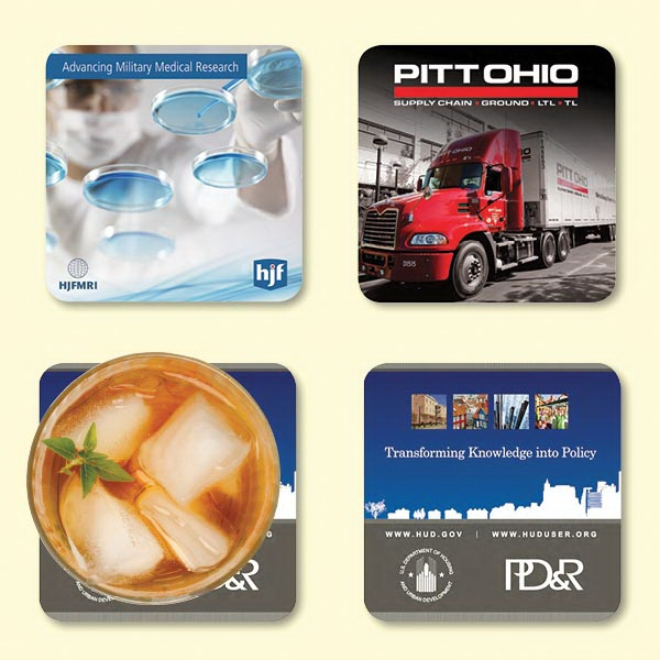 "Custom Vynex® Heavy Duty 4""x4""x1/8"" Hard Surface Coaster"