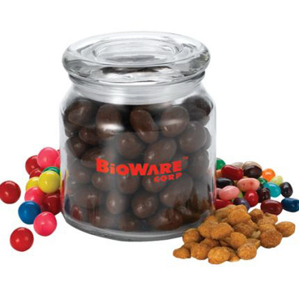 Promotional Round glass 16 oz. jar with gourmet cracker fill