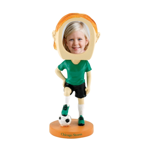 Imprinted Soccer girl bobblehead