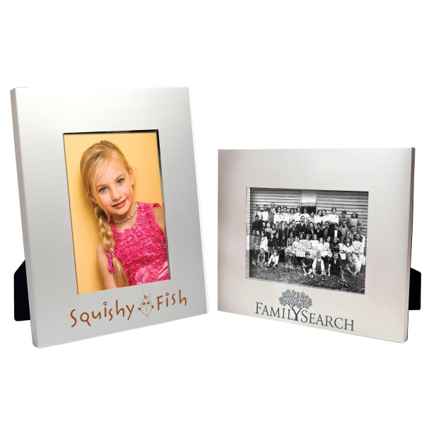 Imprinted 5 x 7 Matte Brushed Silver Frame