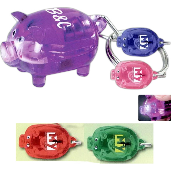 Printed Light Up Piggy Key Tag