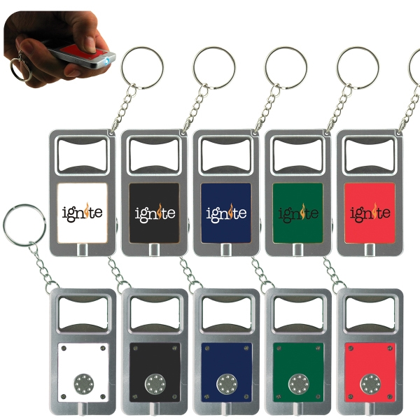 Imprinted LED Key Tag with Bottle Opener