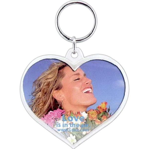 Imprinted Snap-in Heart Key Tag