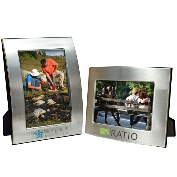 Promotional 5 x 7 Brushed Silver Curved Frame