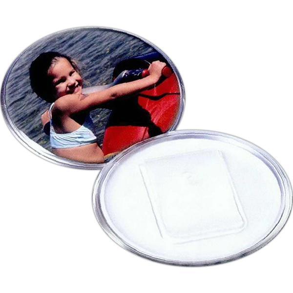 Custom 2 7/8 Snap-In Safety Clip Back Plastic Button