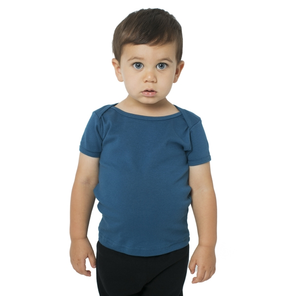 Imprinted Organic Infant Baby Rib Short Sleeve Lap T
