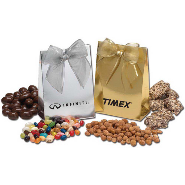 Personalized Deluxe Gift Bag with Ribbon and Chocolate Covered Pretzels
