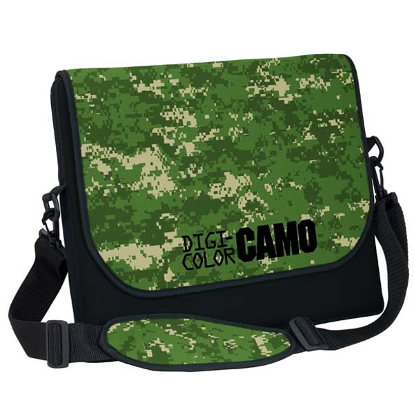 Personalized Extra Large Neoprene Messenger Bag with Strap - Digi Camo