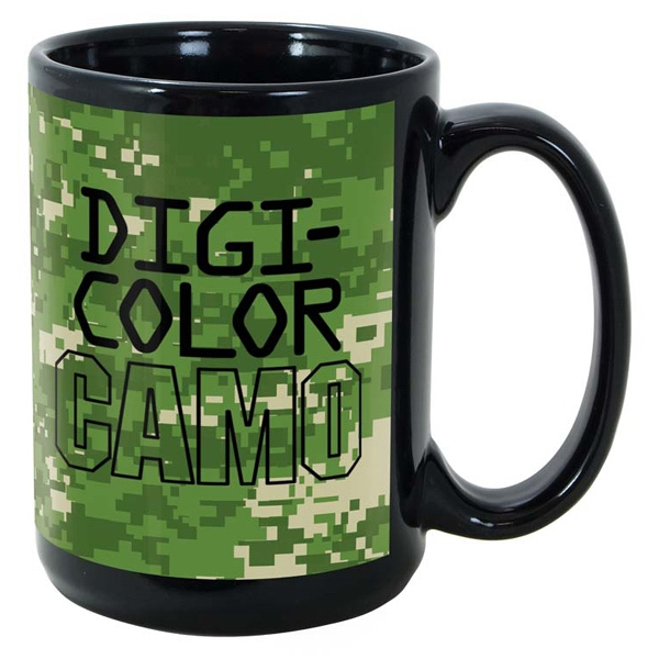 Promotional Black Sublimation Mug 15 oz.  - DigiCamo