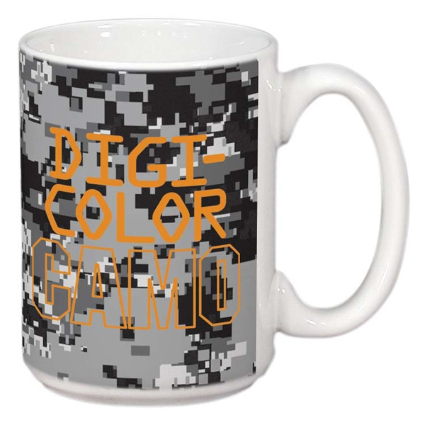 Imprinted White Sublimation Mug 15 oz. - DigiCamo