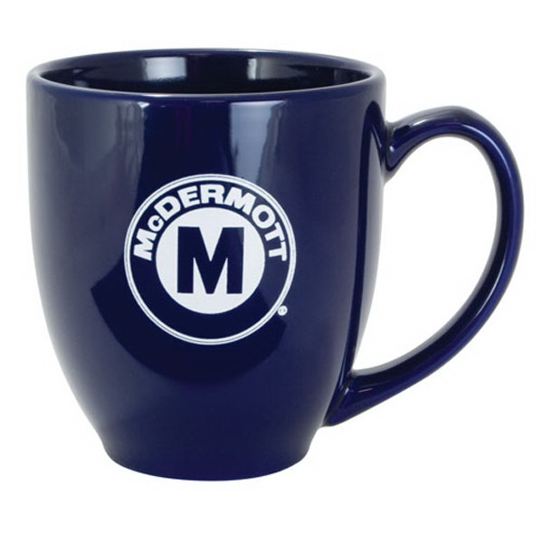 Printed Solid Color Bistro Mug - Cobalt