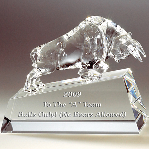 Printed Charging Bull on Clear Base