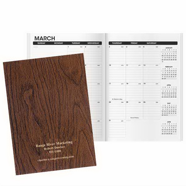 Printed Docket Woodgrain Monthly Planner