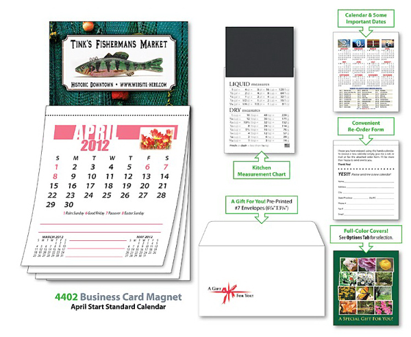 Imprinted Magna-Cal Business Card Magnet Calendar - Apr. 2013