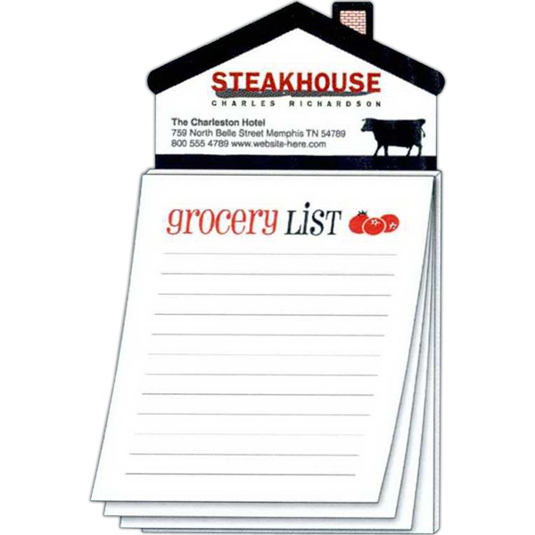 Customized Magna-Pad House Shape Magnet - Stock Grocery List (50 Sheet)