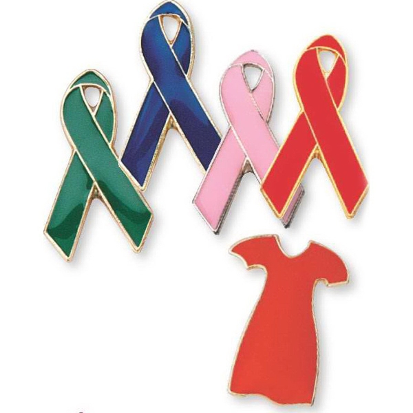 "Printed Awareness Ribbon 1"" pin for Breast Cancer"