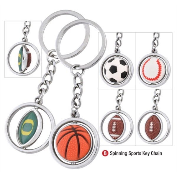 Promotional College Football Spinning Key Tag