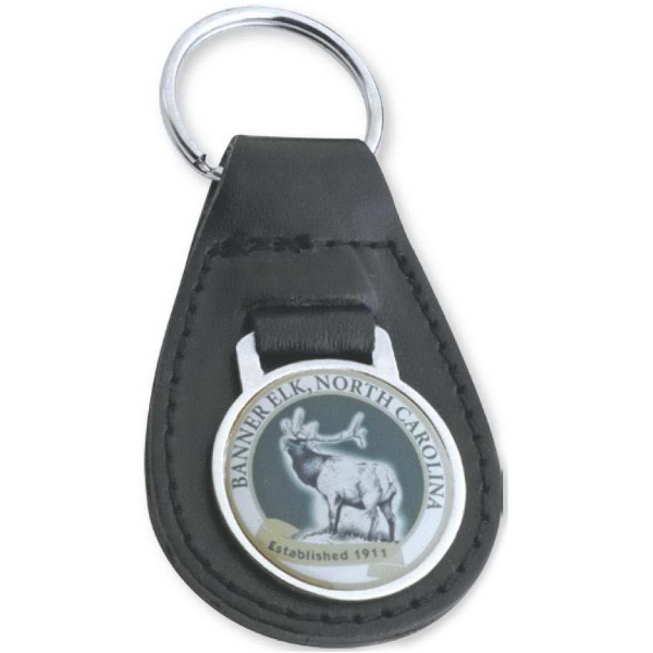 Customized Black Leather Key Ring