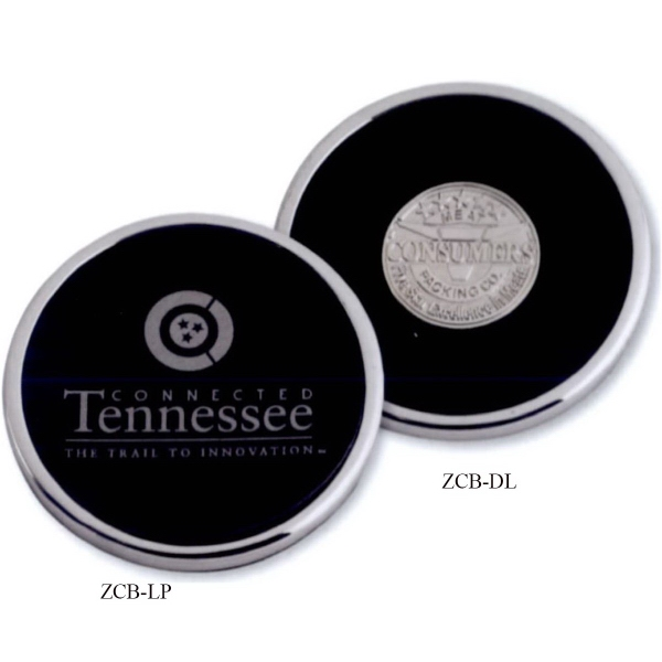 Imprinted Zinc Coaster with Die Struck Insert