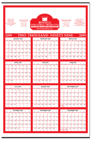 "Promotional Year-At-Glance Calendar (22"" x 34"")"