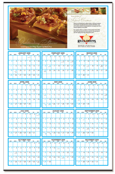 "Custom Year-At-Glance Custom Color Calendar (22"" x 34"")"