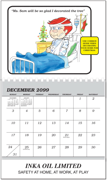 Imprinted Safety Sam Calendar  (Safety Calendar)