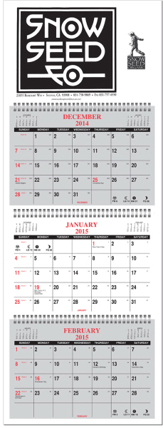 Printed Four panel calendar with 1 Color Imprint