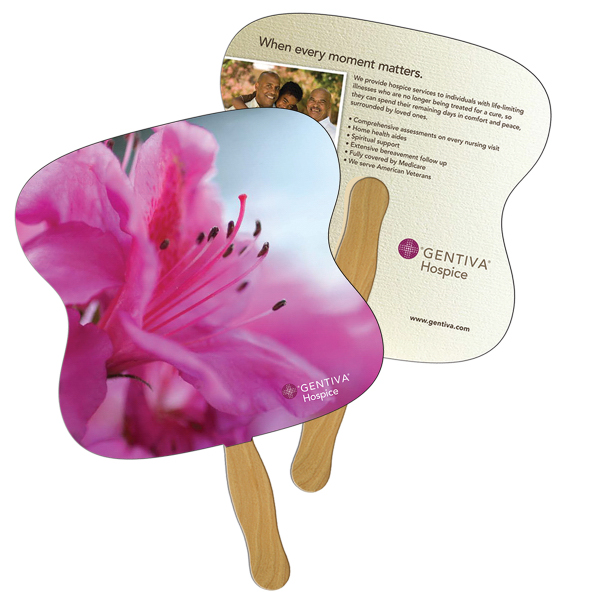 Imprinted Hourglass full color fan