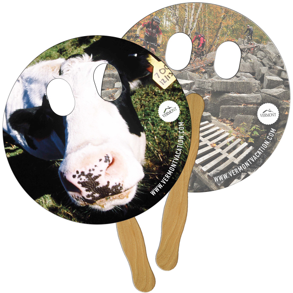 Imprinted Circle with Eyes Cut Out full color fan