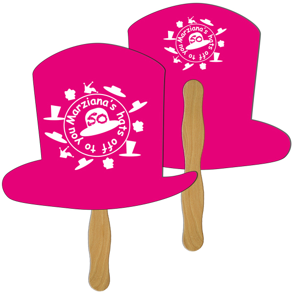Imprinted Top Hat full color fan