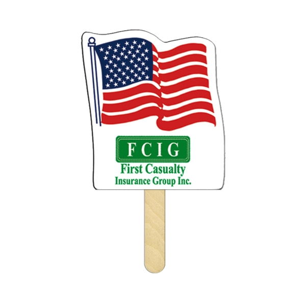 Imprinted Flag Mini Hand Fan