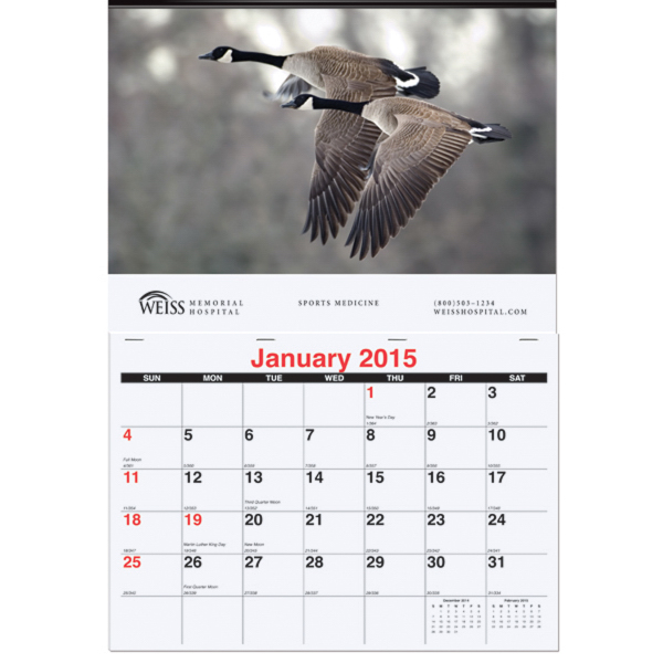 Printed Monthly Wall Calendar One Photo