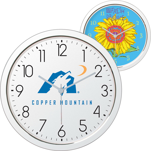 "Promotional 11"" Shiny Chrome Finish Wall Clock"