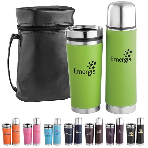 Custom Leatherette Tumbler / Vacuum Bottle Set