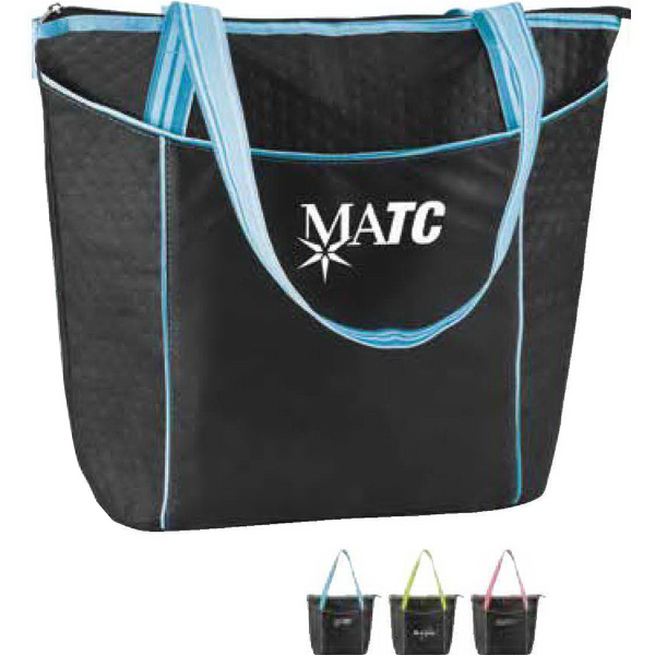 Imprinted Striped Non-woven Cooler Tote