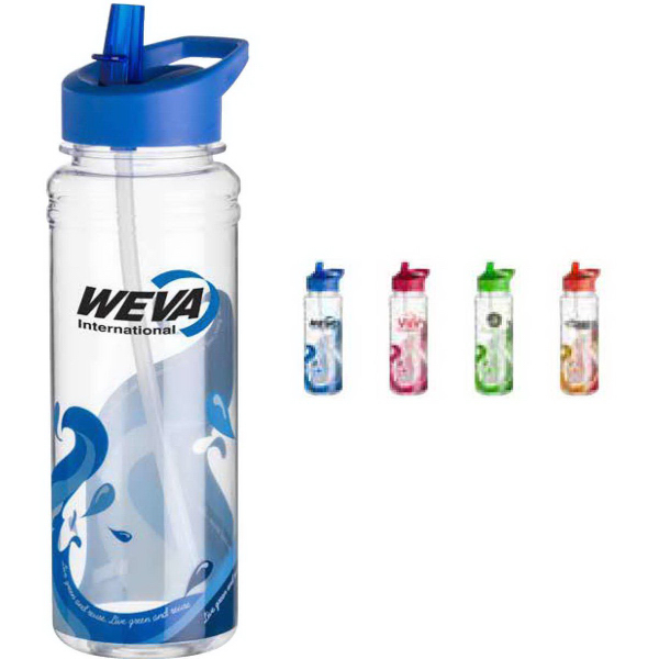 Printed Clear Wave Water Bottle