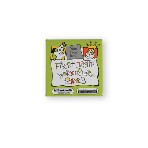 Imprinted Button Magnet - 2 inches square
