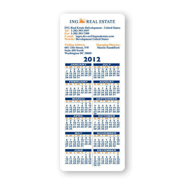 Customized Calendar Sheet - 3 1/2 inches x 8 1/2 inches