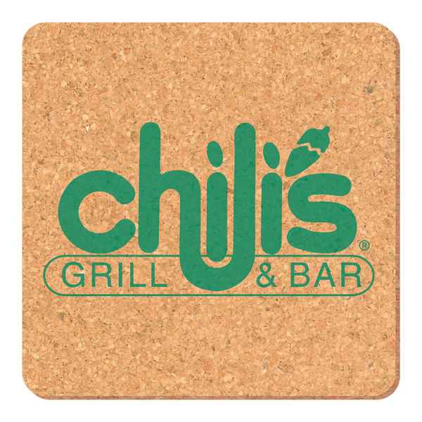 Imprinted Solid Cork Coaster - square