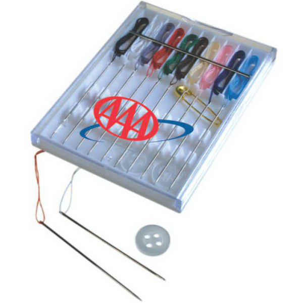 Printed 10-Thread Sewing Kit In Hard Plastic slide-top case