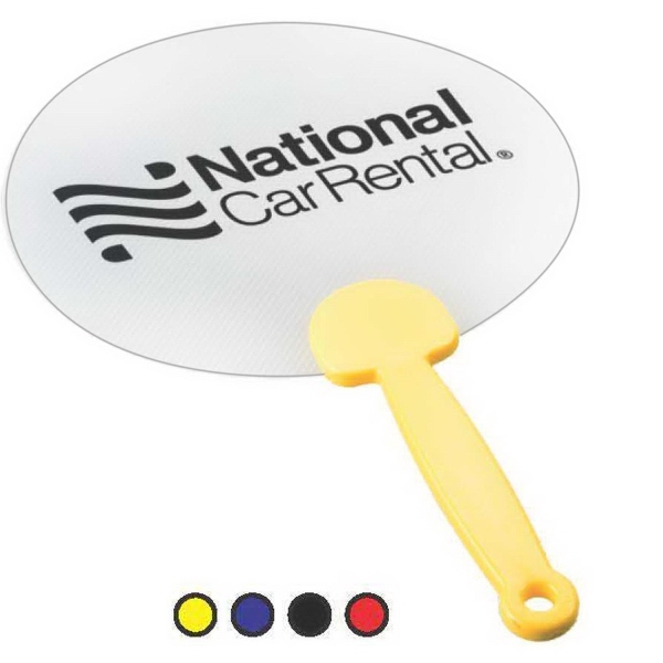 Personalized Plastic Hand Fans with Solid Handle