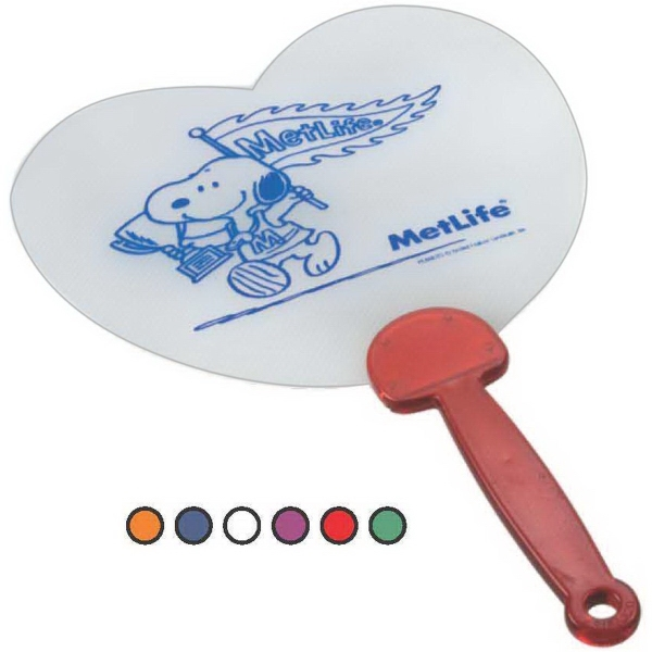 Printed Heart Shape Plastic Hand Fan with Translucent Handle