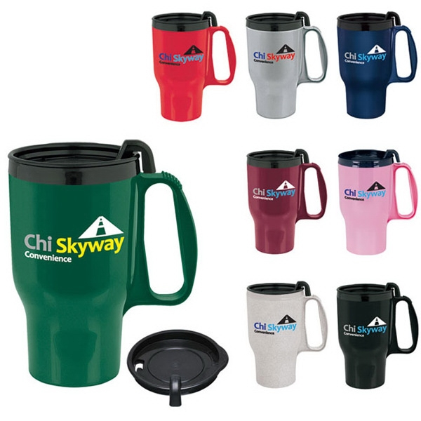 Customized Budget Traveler Mug with Slider Lid - 18 oz