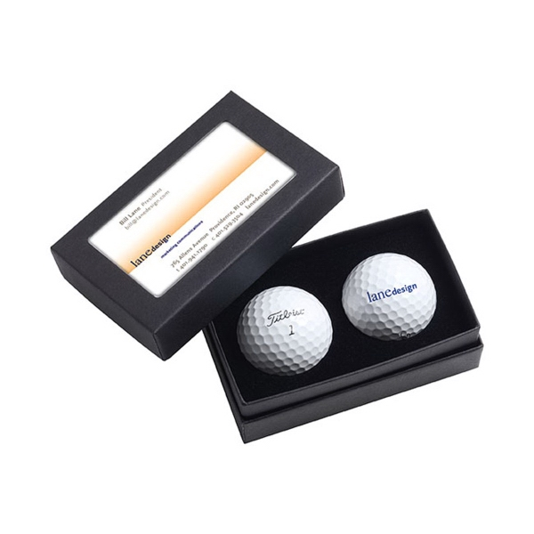 Customized Titleist (R) 2 Ball Business Card Box - DT (R) SoLo